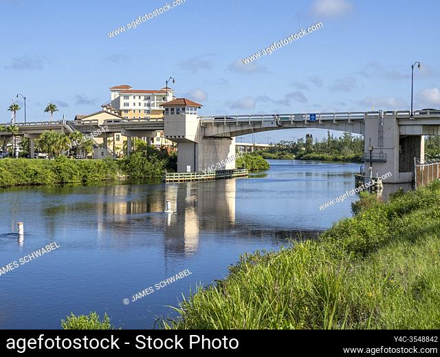 The Gulf Intercoastal Waterway in the Gulf coast city of Venice Florida in the United States