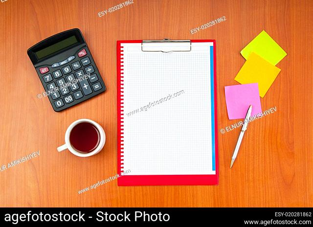 Desk top with many items