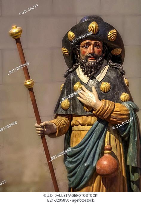 """France, Nouvelle Aquitaine, Vienne, Saint Jacques de Compostelle at the """"""""Cure de Saint Jacques"""""""" at Chatelrault, 15th Century wood polychrome"""