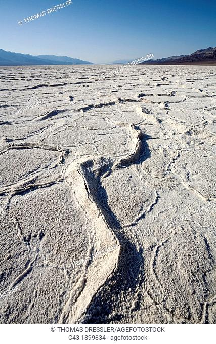 Salt crusts at the Badwater Basin salt flats in the Death Valley which is the lowest elevation in North America at 86m below sea level  Death Valley National...