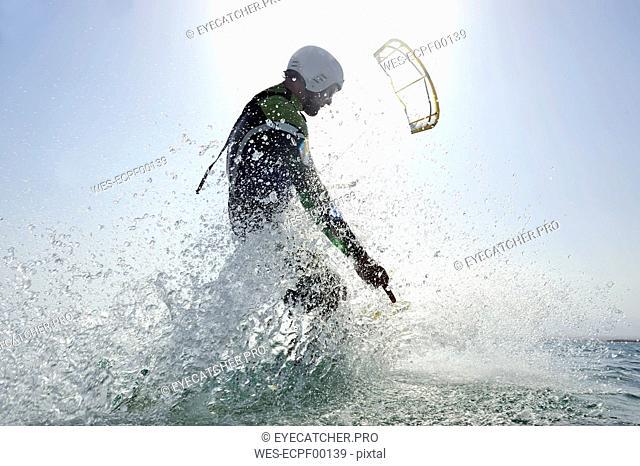 Kitesurfer in the sea