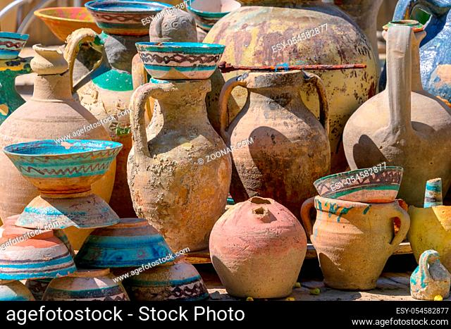 Exposition of traditional old Uzbek pottery
