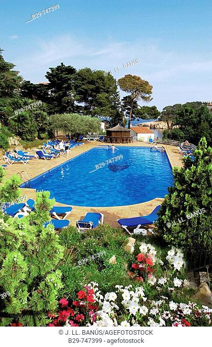 Swimming pool, Aiguablava hotel. Costa Brava, Girona province, Catalonia, Spain