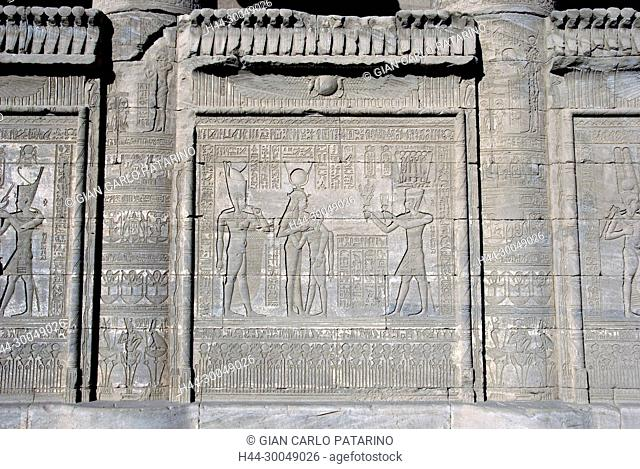 Dendera Egypt, ptolemaic temple dedicated to the goddess Hathor. Carvings on external wall of mammisi