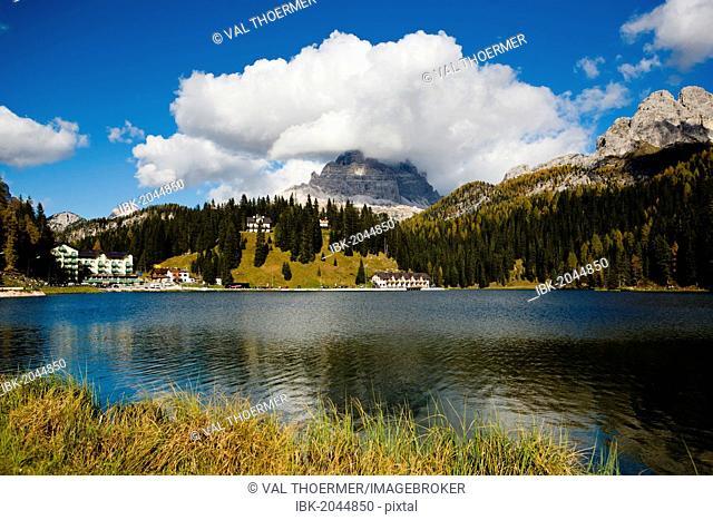 Lago Misurina lake in Dolomite Alps, Italy, Europe