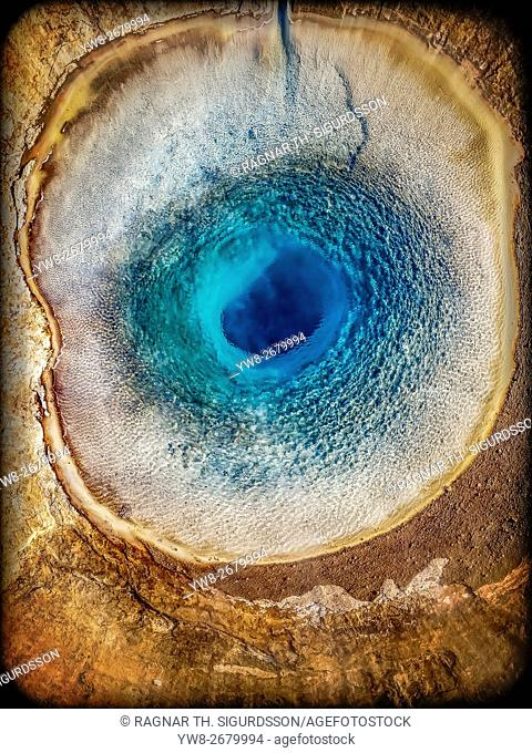 Top view of Strokkur Geyser prior to erupting, Iceland. This image is shot with a drone