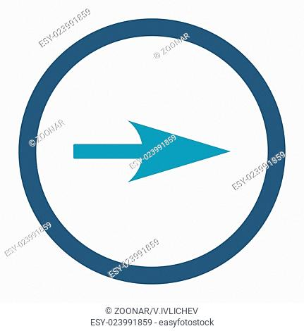 Arrow Axis X flat cyan and blue colors rounded vector icon