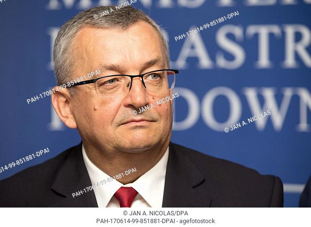 Polish Minister of Infrastructure, Andrzej Adamczyk speaks during a press briefing held on occassion of the conference Development of Polish Railways while...