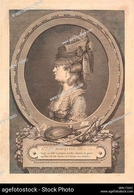 Portrait of Adrienne-Sophie Marquise de ***. Artist: Augustin de Saint-Aubin (French, Paris 1736-1807 Paris); Date: 1779; Medium: Etching; third state of four...
