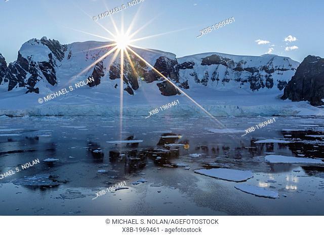 Sunrise in the Errera Channel, Antarctica, Southern Ocean