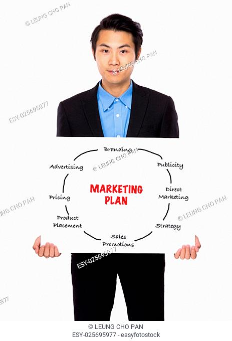 Businessman holding a placard showing marketing plan concept