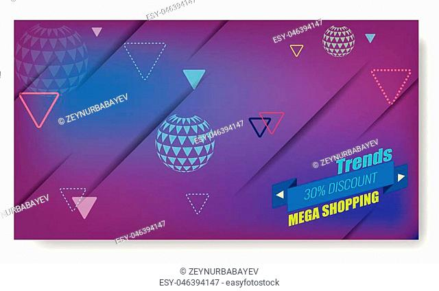 Minimal geometric background with trendy ribbon and arrow globes. Dynamic shapes composition for sale and shopping poster. Illustrated vector
