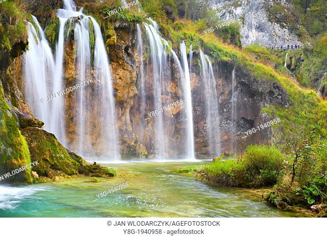 Croatia - autumn view of waterfalls and water cascades in Plitvice Lakes National Park, Plitvice, central Croatia, UNESCO