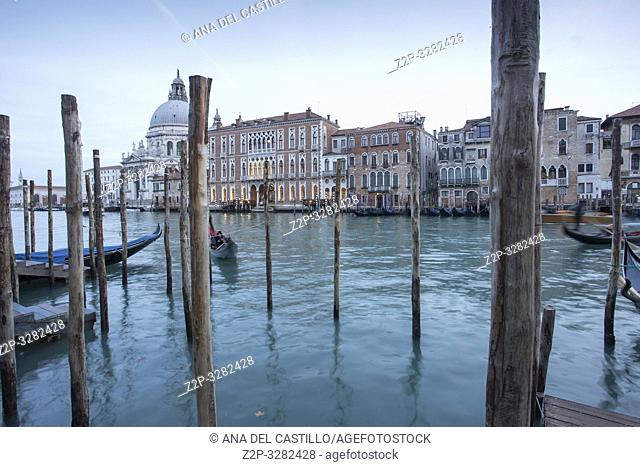 Venice Veneto Italy on January 19, 2019: Twilight of Grand Canal