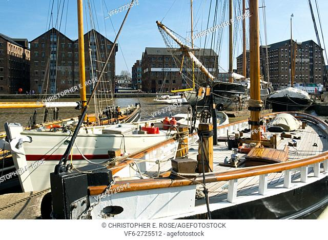 Traditional vessels undergoing maintenance in Gloucester Docks, Gloucester, UK