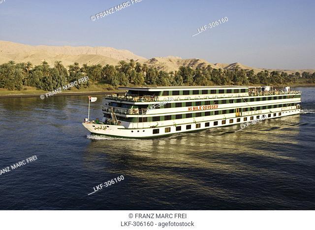 Cruise ship on river Nile between Edfu and Kom Ombo, Egypt, Africa