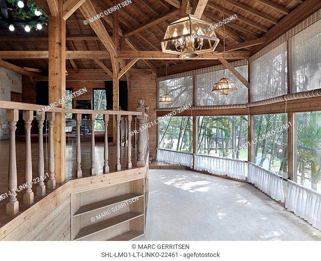 Interior dancing area near windows