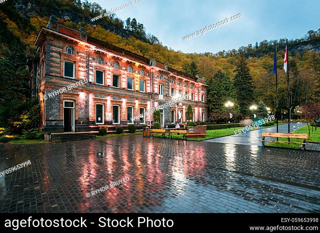 Borjomi, Samtskhe-Javakheti, Georgia. First Mineral Water Bottling Factory. Famous Local Landmark Is City Park At Autumn October Evening