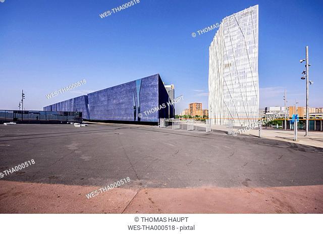 Spain, Barcelona, Telefonica building and Museu Blau