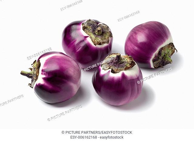 Fresh rounds eggplant on white background