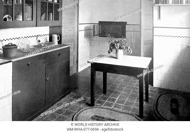 Photograph of a typical 1960s kitchen. Dated 20th Century