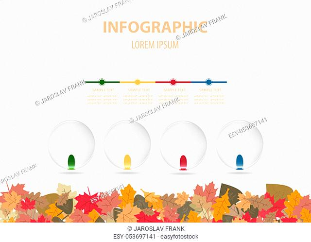 Infographics vector with autumn design containing four blank transparent balls ready for your text. Colorful fallen autumn leaves forming the bottom edge of...