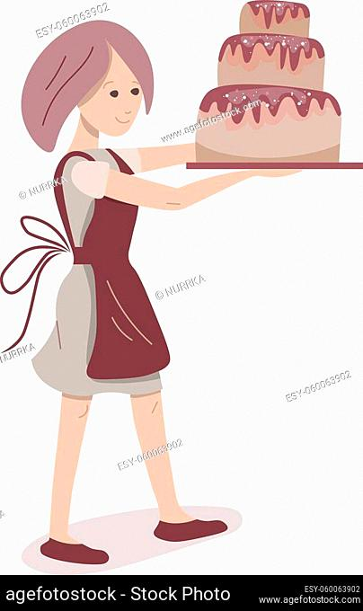 Young baker carrying big chocolate cake. Lifestyle and hobby. Illustration can be used for cafe menu and food design templates