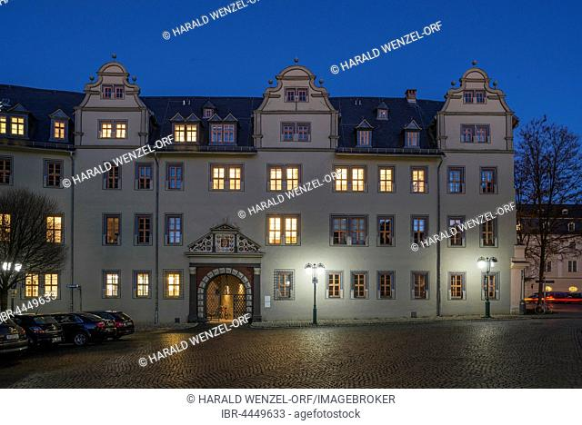 Red Castle, part of Duchess Anna Amalia Library, historic façade with entrance, night scene, Weimar, Thuringia, Germany