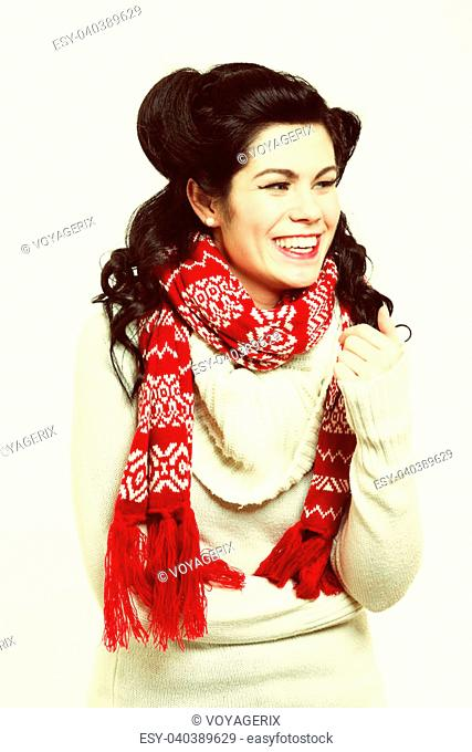 winter fashion portrait brunette woman retro hairstyle in warm clothing vintage photo studio shot