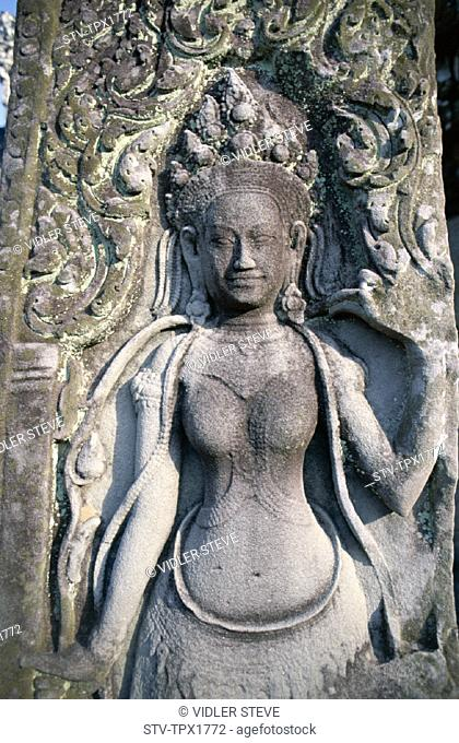 Angkor thom, Bayon, Cambodia, Asia, Carving, Detail, Heritage, Holiday, Landmark, Siem reap, Tourism, Travel, Unesco, Vacation
