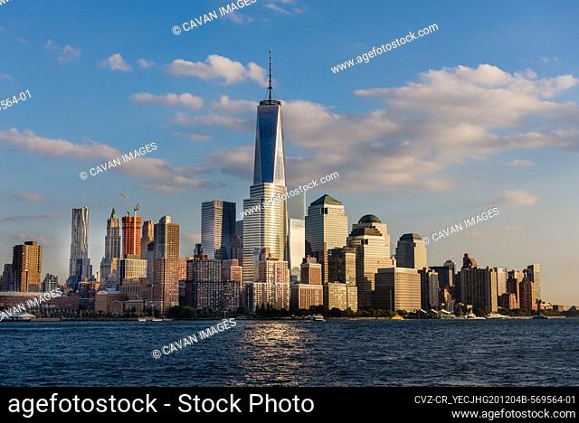 Lower Manhattan and WTC skyline area at sunset in NYC, USA
