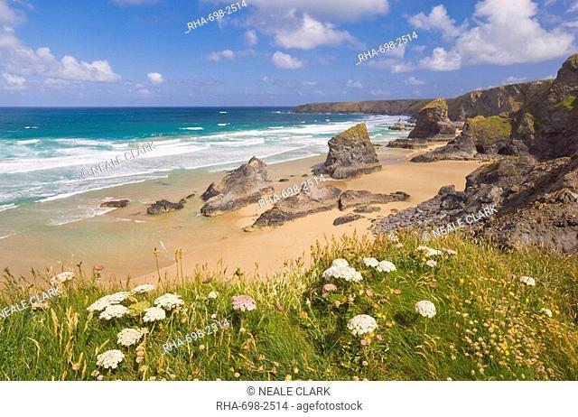 Rock stacks, beach and rugged coastline at Bedruthan Steps, North Cornwall, England, United Kingdom, Europe