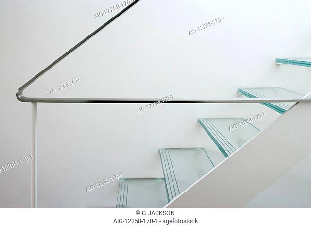 Glass tread staircase and handrail in a Victorian house, Wandsworth, London