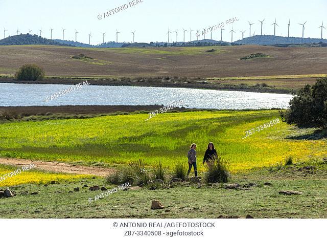 People walking in Laguna de Hoya Rosa. Complejo Lagunar de Corral-Rubio. Albacete province, Castile-La Mancha, Spain