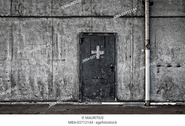 Hall, concrete wall, door, exit, access, cross