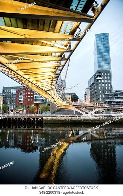 Isozaki Torres and Calatrava footbridge. Bilbao. Vizcaya. Basque Country. Spain. Europe