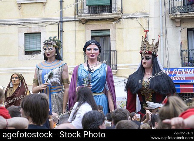 Tarragona Catalonia Spain on September 21, 2019: Giants and big headeds parade during St Tecla feasts