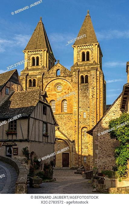 Conques. Abbatiale Sainte Foy abbey church on the Way of St. James in Conques village. Aveyron. France. Europe