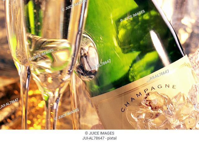 Close up of glasses and champagne