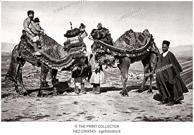 Pilgrims with their camels on their way to Karbala, Iraq, 1925. the site of the martyrdom in 680 of Abbas ibn Ali, half brother of Husayn ibn Ali