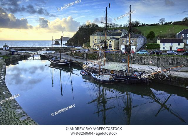 Tall Ships reflected in the dock at the historic port of Charlestown, on the south coast of Cornwall. Captured form a high vantage point