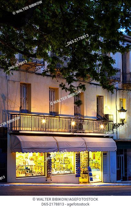 Greece, Central Greece Region, Delphi, souvenir shop selling reproductions of Ancient Greek items