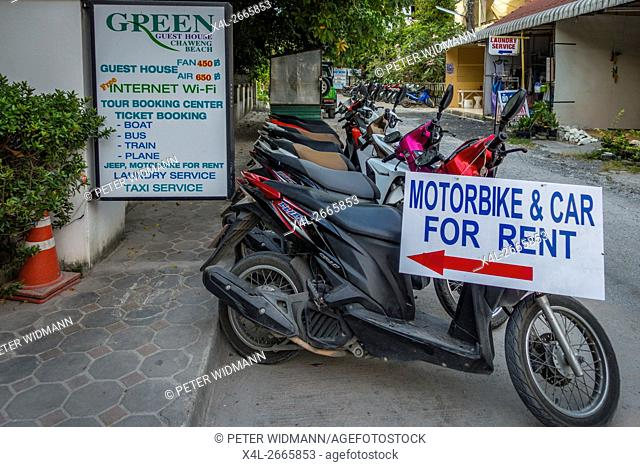 Scooters for rent, Chaweng Beach, Ko Samui, Thailand, Asia