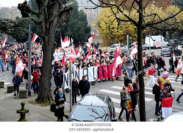 October 2014 Protest march against French regions' enlargement project, Strasbourg Alsace France