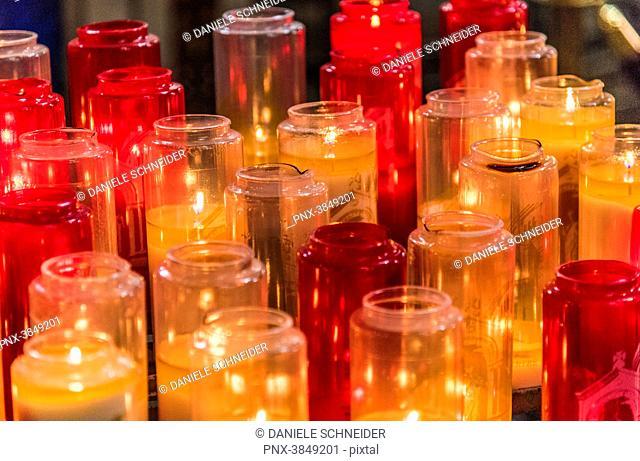 France, 18th arrondissement of Paris, Basilica of the Sacred Heart of Paris, devotion lights
