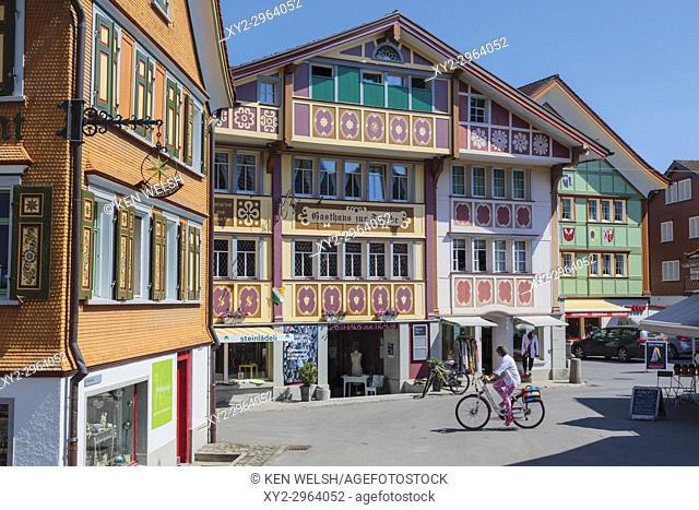 Appenzell, Appenzell Innerrhoden Canton, Switzerland. Typical architecture in Sternenplatz