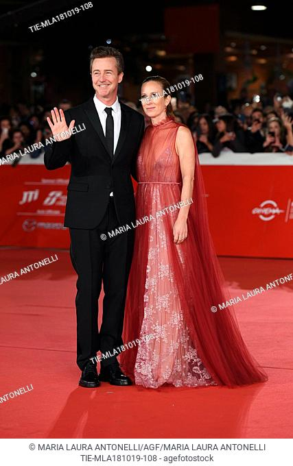 The director and actor Edward Norton, Shauna Robertson during the red carpet of film Motherless Brooklyn at the 14th Rome Film Festival, Rome, ITALY-17-10-2019