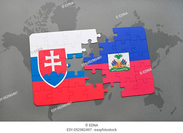 puzzle with the national flag of slovakia and haiti on a world map background. 3D illustration