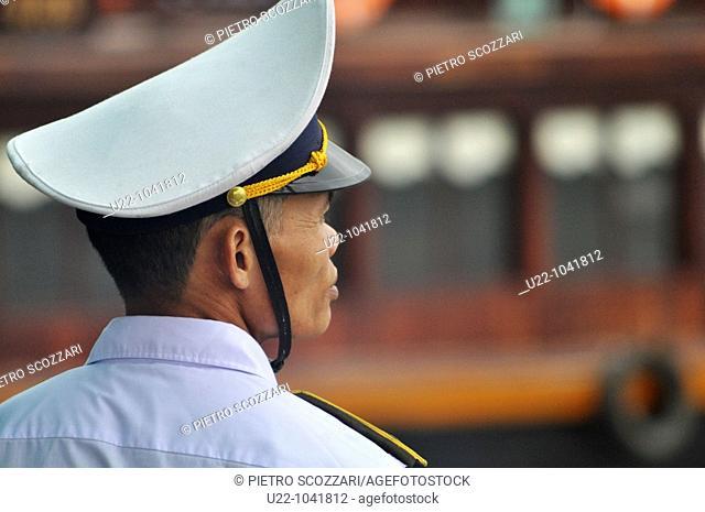 Halong Bay (Vietnam): a boats traffic inspector in uniform