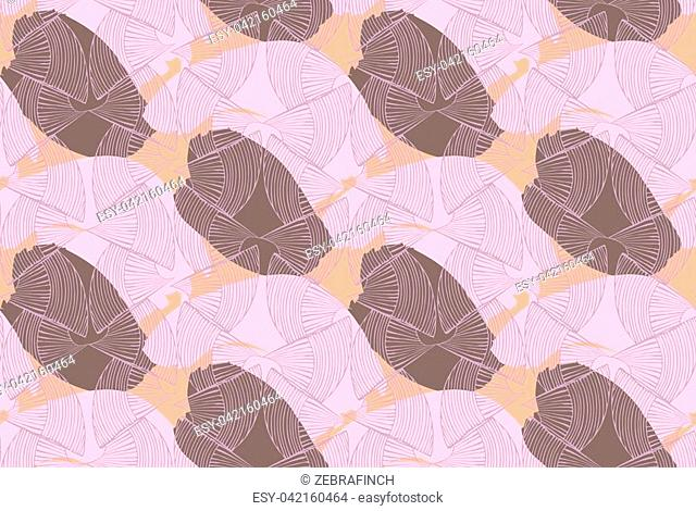 Abstract seashells purple brown textured.Hand drawn with ink and colored with marker brush seamless background.Creative hand made brushed design